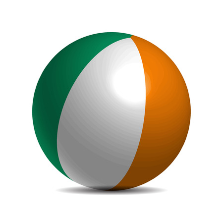 3d  ball: Ireland flag on a 3d ball with shadow, vector illustration