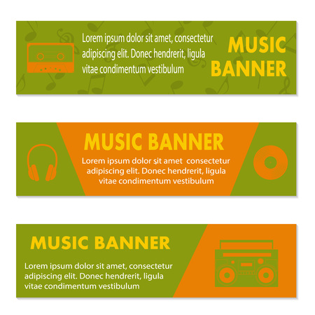 recorder: Advertising musical banners with tape, tape recorder and  headphones, illustration Illustration