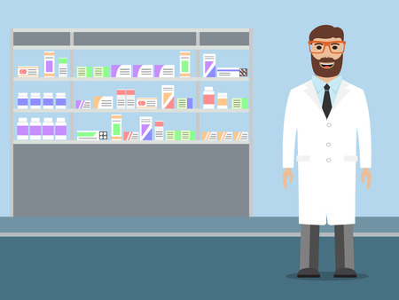 medications: Male pharmacist with beard standing near shelves with medications, illustration