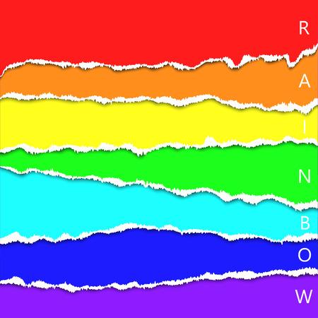Resumen de fondo arco iris, efecto de papel rasgado, ilustración