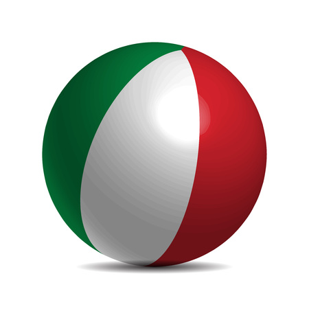 italia: Italy flag on a 3d ball with shadow, illustration