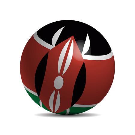 3d  ball: Kenya flag on a 3d ball with shadow, illustration