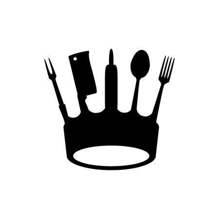 Couronne d'ustensiles de cuisine, style de logo plat, illustration vectorielle
