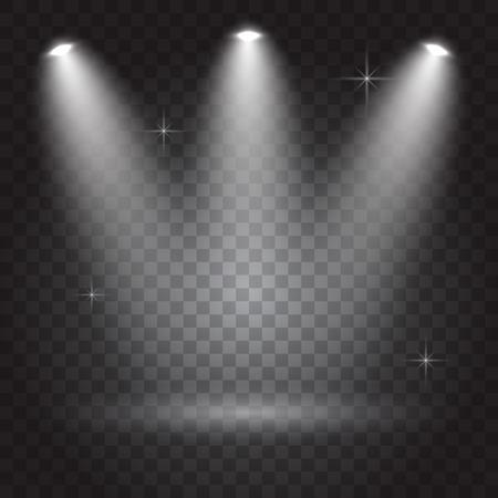 night club interior: Bright lighting with spotlights, transparent effects on dark  background, vector illustration