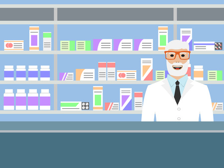 medications: Old man pharmacist with beard standing near shelves with medications, vector illustration