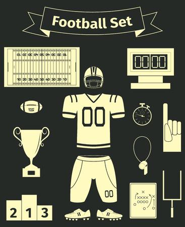 nfl helmet: American football icons set, flat style, vector illustration