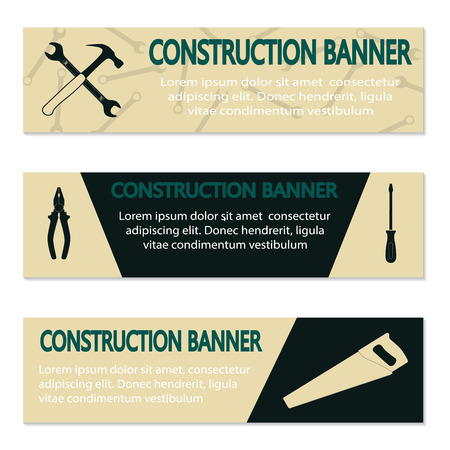 machinist: Advertising banners with different tools, illustration