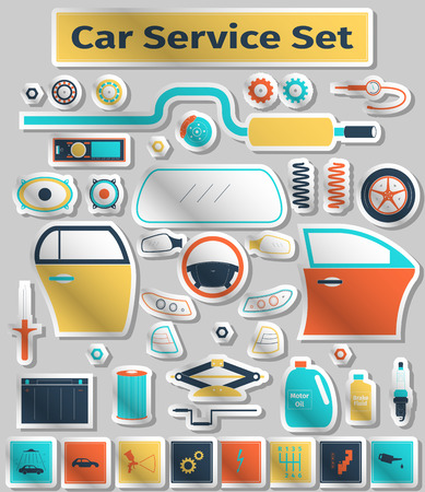 tailpipe: Car service set, flat icons style, illustration Illustration