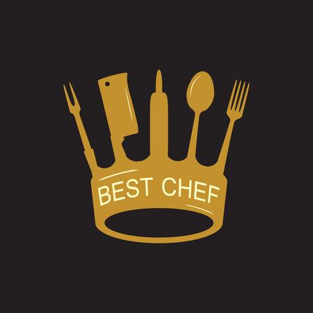 dinning: Crown of kitchen utensils, flat style, illustration