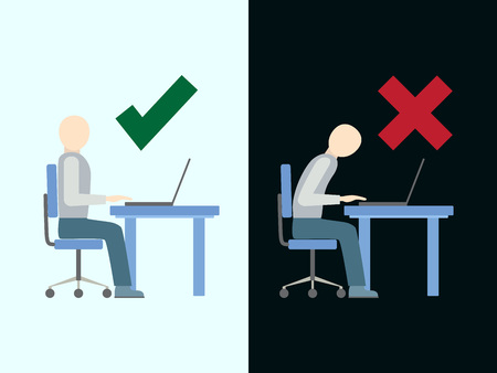 incorrect: Correct and incorrect sitting posture at computer, flat design, illustration