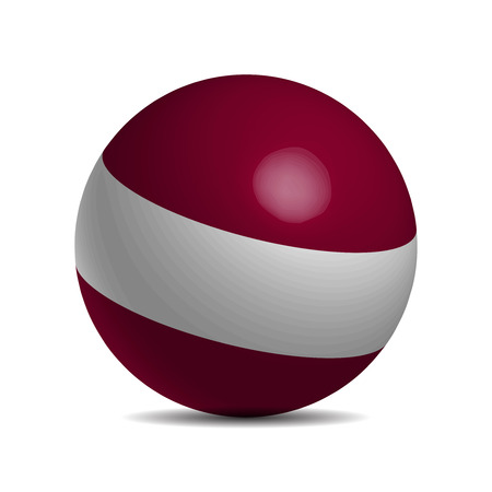 latvia flag: Latvia flag on a 3d ball with shadow, vector illustration