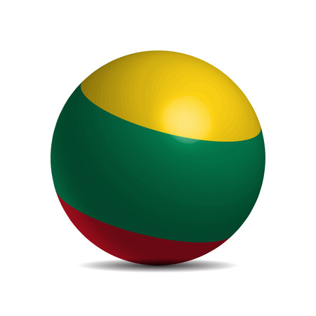 Lithuania flag on a 3d ball with shadow, vector illustration Illustration
