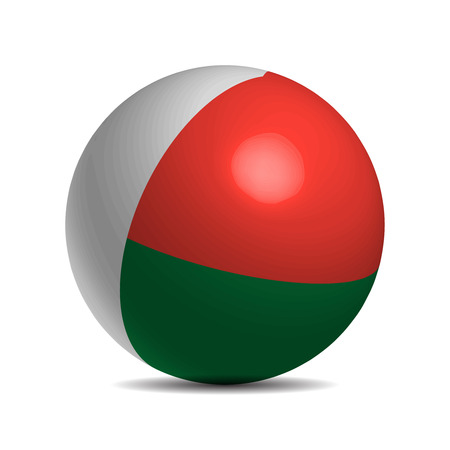 Madagascar flag on a 3d ball with shadow, vector illustration