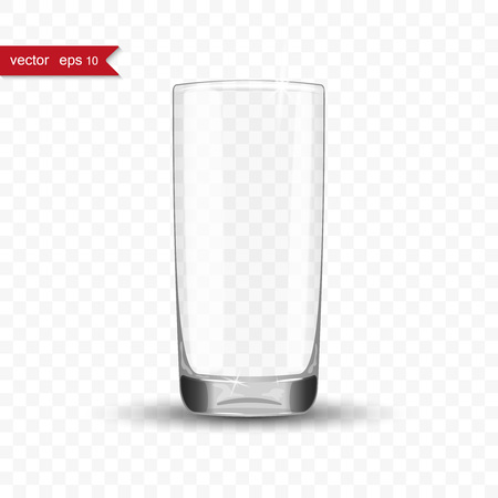 glass cup: Empty drinking glass cup with shadow, vector illustration