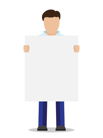 blank poster: Man without face holding placard, vector illustration.