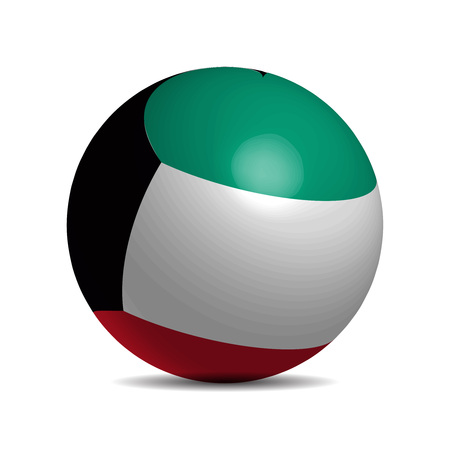 star spangled: Kuwait flag on a 3d ball with shadow, vector illustration