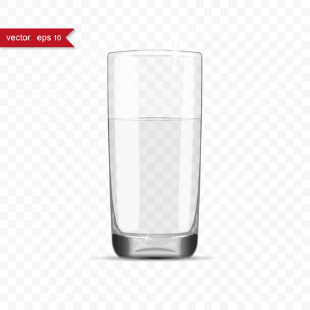10eps: Full glass of water cup with shadow, vector illustration