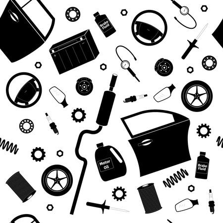 tailpipe: Car service set, seamless pattern, vector illustration