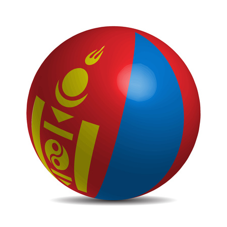 independent mongolia: Mongolia flag on a 3d ball with shadow, vector illustration Illustration
