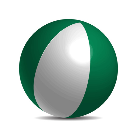 anthem: Nigeria flag on a 3d ball with shadow, vector illustration