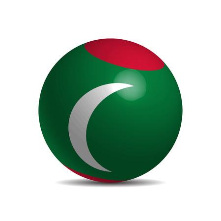 light maldives: Maldives flag on a 3d ball with shadow, vector illustration