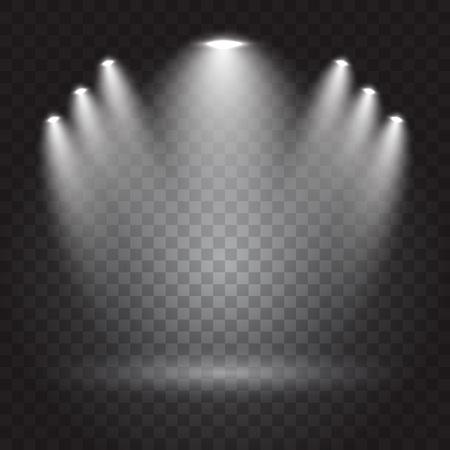 night club interior: Bright lighting with spotlights, transparent effects on dark background, vector illustration Illustration