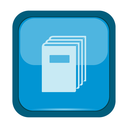 encyclopedia: Books icon on a blue button, vector illustration