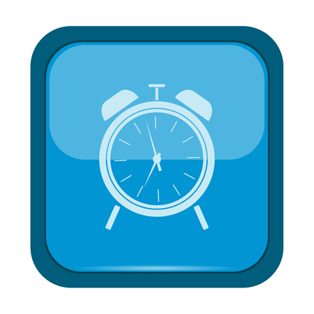 illustraiton: Alarm clock icon on a blue button, vector illustraiton