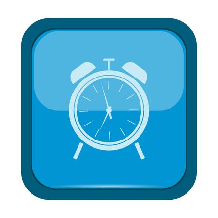 illustraiton: Alarm clock icon on a blue button, vector illustraiton