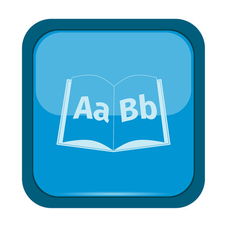 epublishing: Books icon on a blue button, vector illustration