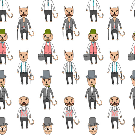 cat suit: Hand Drawn seamless pattern vector Illustration. Gentleman cats in hipster accessories.Mustache, glasses, hat, cigar,cane, umbrella, bag, suit, shirt, jacket, trousers.