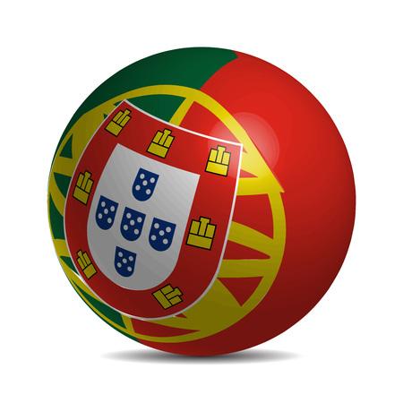 drapeau portugal: Portugal drapeau sur une boule 3d avec l'ombre, illustration vectorielle