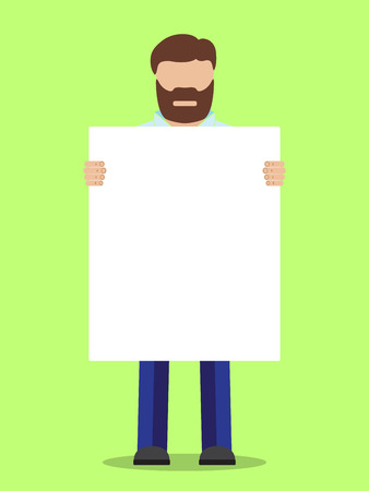 placard: Man without face holding placard, vector illustration.