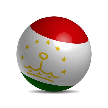 3d  ball: Tajikistan flag on a 3d ball with shadow, vector illustration