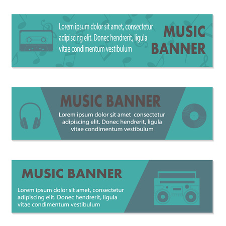 plectrum: Advertising musical banners with tape, tape recorder and headphones, vector illustration