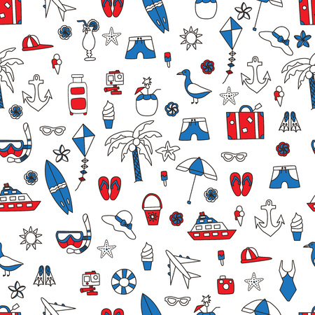summertime: Vacation doodles illustration seamless pattern. Handmade icons collection of summertime symbols