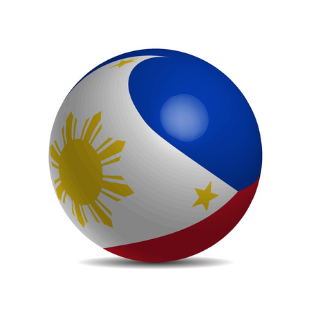 Philippines flag on a 3d ball with shadow illustration