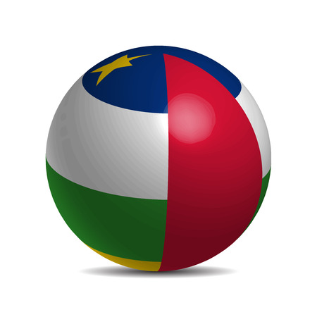 afrika: Central African Republic flag on a 3d ball with shadow illustration