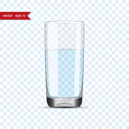 Full glass of water cup with shadow  イラスト・ベクター素材