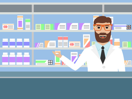 medications: Male pharmacist with beard standing near shelves with medications illustration