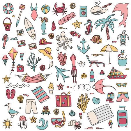 Vakantie doodles illustratie set.