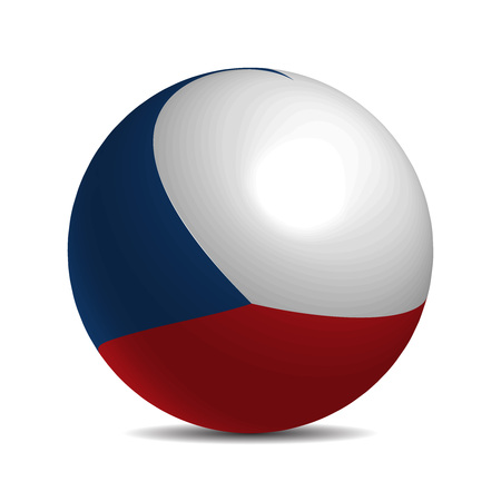 czech republic flag: Czech Republic flag on a 3d ball with shadow, illustration