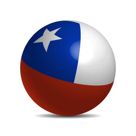 bandera de chile: Chile flag on a 3d ball with shadow, vector illustration Vectores