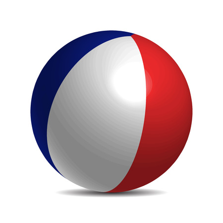 spangled: France flag on a 3d ball with shadow, illustration