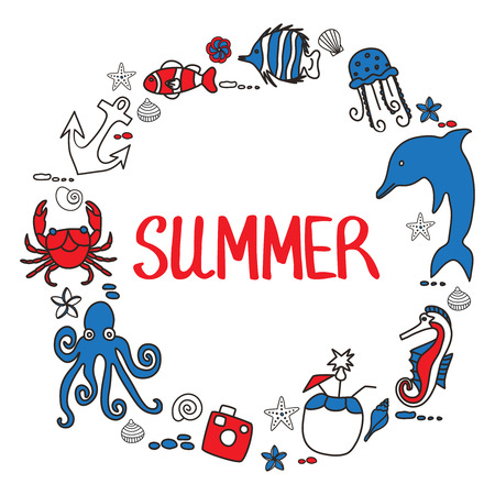 coconut crab: Vacation doodles illustration frame. Handmade icons collection of summertime symbols