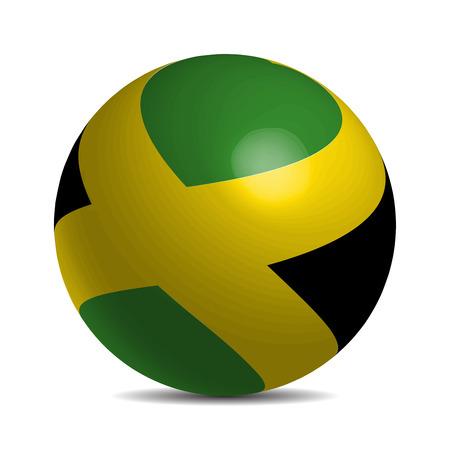 jamaican man: Jamaica flag on a 3d ball with shadow, vector illustration Illustration