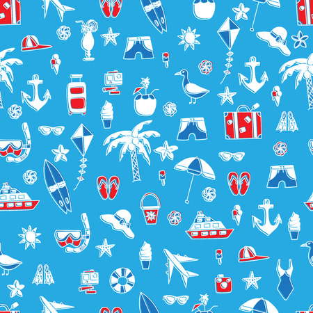 summertime: Vacation doodles vector illustration seamless pattern. Handmade icons collection of summertime symbols Illustration