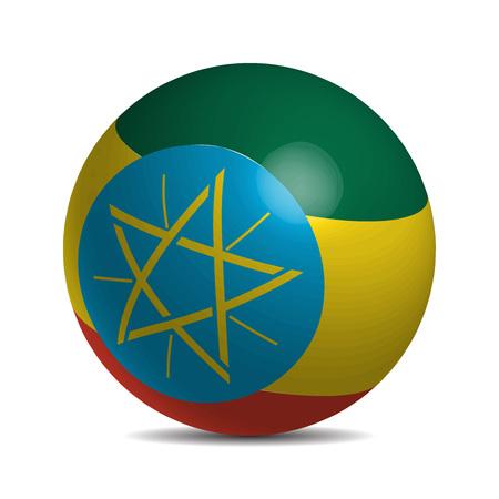 national flag ethiopia: Ethiopia flag on a 3d ball with shadow, vector illustration