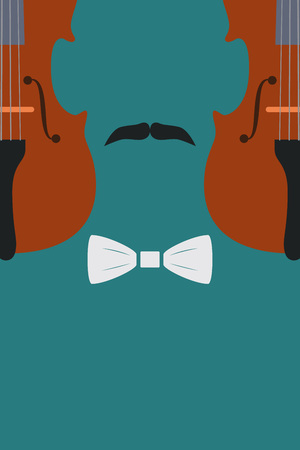 fiddlestick: Advertising card with violin in human form with mustache and tie, vector illustration