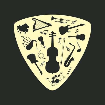 mediator: Musical instrument set on a plectrum, vector illustration